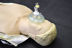 First aid medical practice dummy mannequin or assisted breathing mask