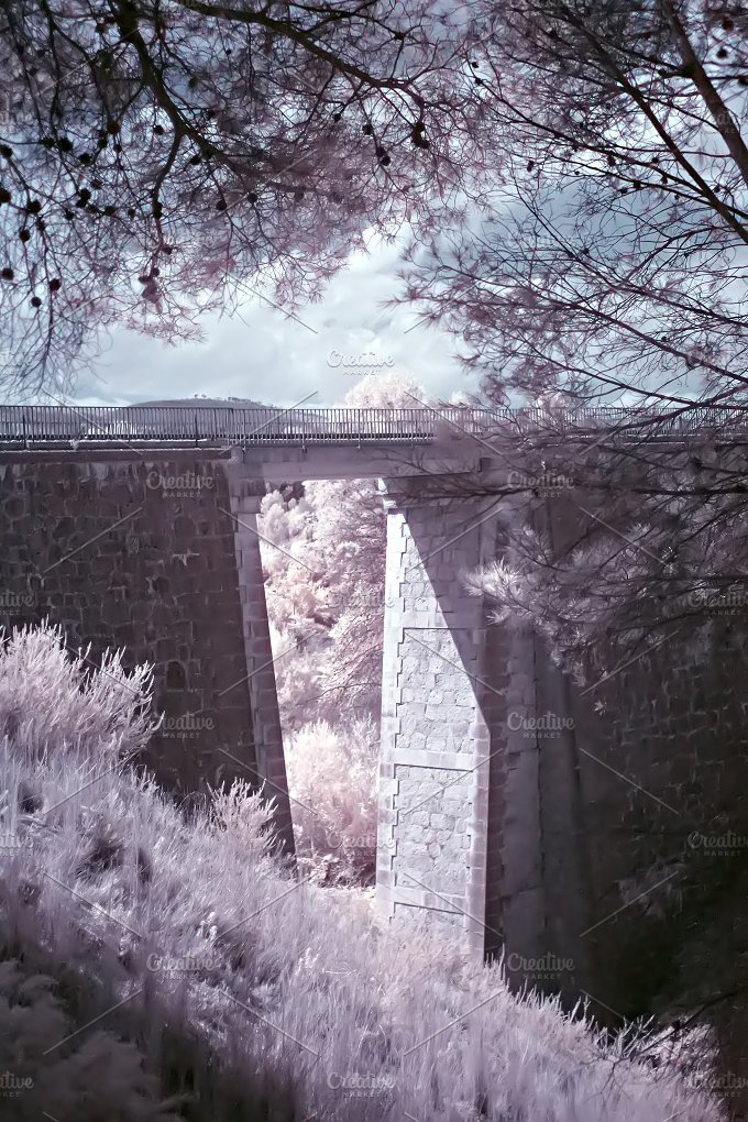 Train overpass. Infrared shot - Architecture