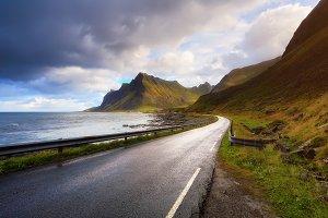 Road along Lofoten coastline