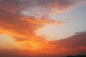Fantastic orange sea ocean sunset cloud sky photo