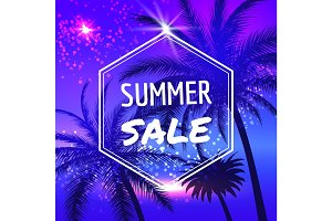 Summer sale poster with palm trees