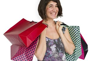 Woman Cheerful Shopping Bags (PNG)