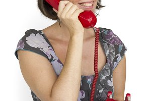 Caucasian Lady Red Telephone (PNG)
