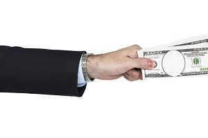 Human Hand Holding Dollar (PNG)