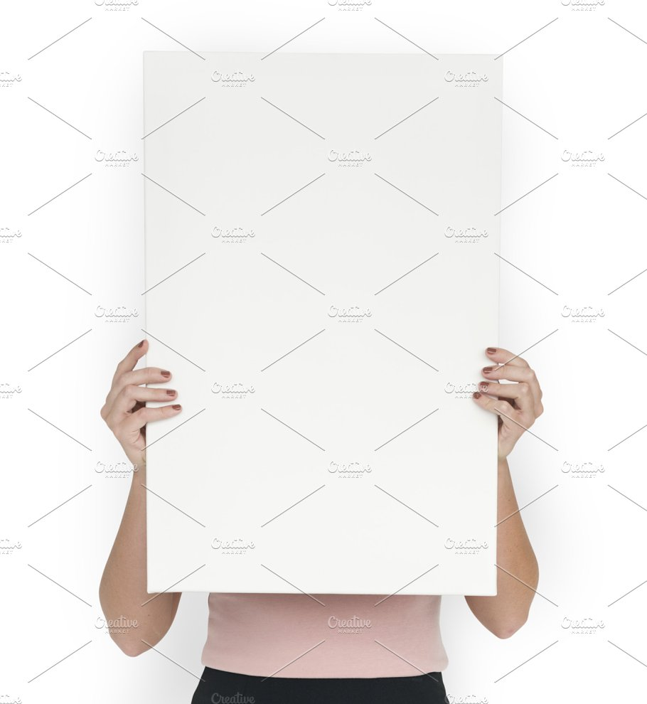 woman holding blank paper (png) ~ people images ~ creative market