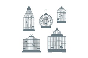 Birdcages Set. Vector