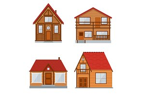 Wooden Country House or Home Set