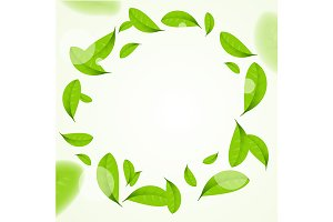 Leaves Circle Frame Background