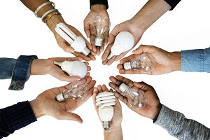Hands holding innovation (PNG)