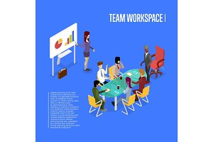 Conference office workspace isometric 3D poster