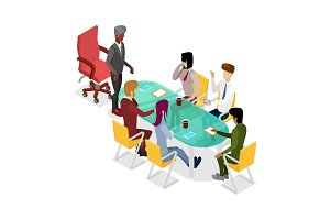 Business meeting isometric 3D icon