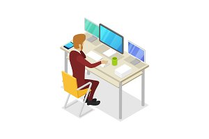 Manager work on computer isometric 3D icon