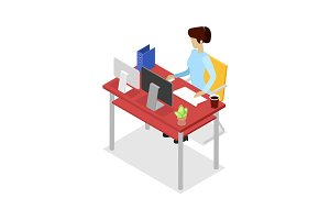 Secretary work on computer isometric 3D icon