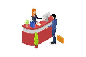 Company reception stand isometric 3D icon