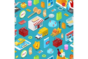Online shopping isometric seamless pattern