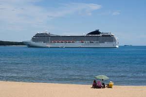 Big Cruise Ship at Beach Shores