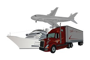 truck, ship, airplane, delivery