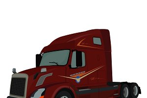 truck, semi truck, lorry, vector