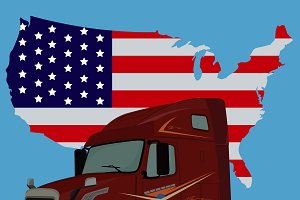 truck and American flag, vector