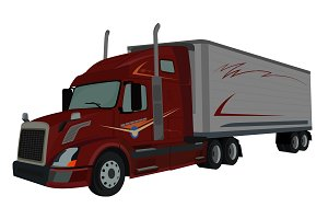truck, semi truck, loader, vector