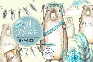 Boho Bear, Watercolor Clipart