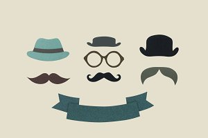 Paper craft hipster icon concept