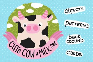 Cute Cow and Milk set