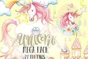 Unicorn Watercolor Clip Art