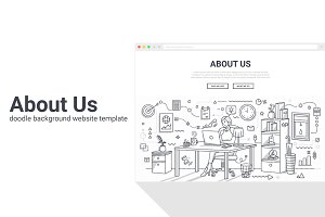 About Us Doodle Background Template