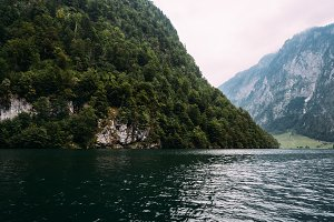 Scenic view of Konigssee in Bavaria a misty day