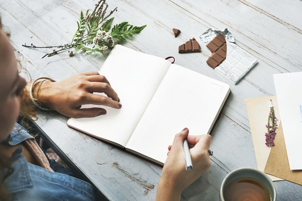 Hand writing in a notebook (PNG)