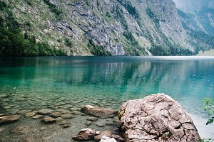 Scenic view of Obersee in Bavaria a misty day