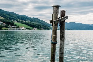 Pier in Mondsee lake a summer day