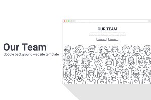Our Team Doodle Background Template