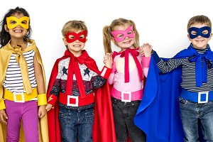 Little Kids Dressing Superhero (PNG)
