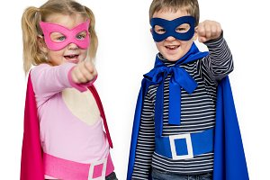 Superhero Kids Wear Costume (PNG)
