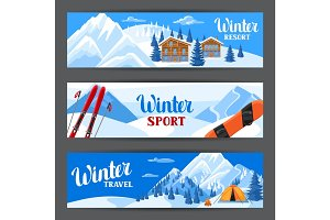 Winter ski resort banners. Beautiful landscape with alpine chalet houses, snowboard, snowy mountains and fir forest