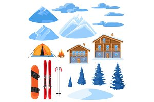 Winter set for design. Alpine chalet houses, snowboard, ski, snowy mountains and fir trees
