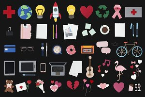 Paper craft design icons set