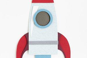 Paper craft design of launch rocket