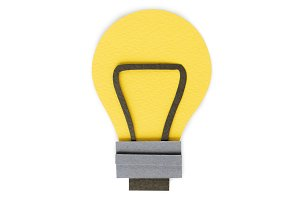 Paper craft of light bulb icon