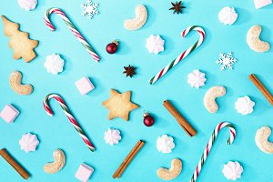 Christmas background candies blue