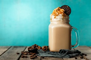 Creamy milk coffee shake in jar