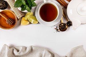 From above view of tea arrangement