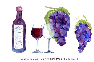 Watercolor Wine, Grapes