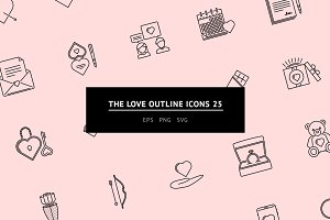 The Love Outline Icons 25