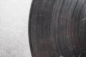 Scratched vinyl record