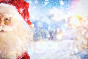 Santa claus close up doll with snow