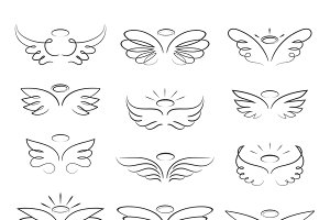 Sketch angel wings in cartoon style