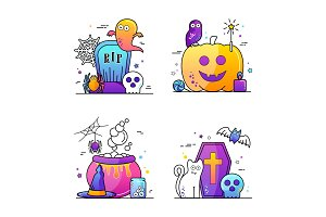 Halloween vector illustration Poster set
